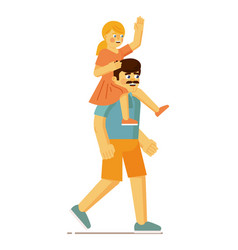 Father carrying daughter on shoulder on walk vector