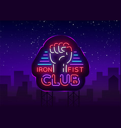 Fight club logo in neon style iron fist club is a vector