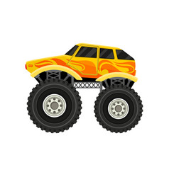 Flat icon of bright yellow monster car with vector