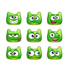 Funny cartoon green jelly monster vector