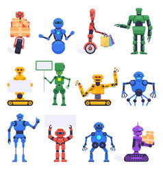 futuristic robots robotics android bot vector image