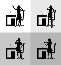 Girl set in office silhouette vector