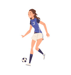 girl soccer player character young woman in vector image