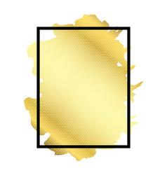 Gold brush in black rectangle frame isolated white vector