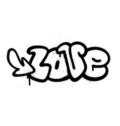 graffiti love word in black over white vector image