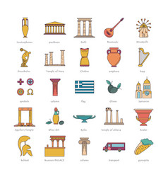 greece icons set cartoon style vector image