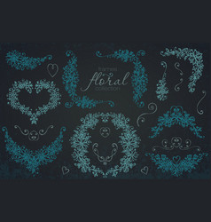 hand drawn floral wedding and holiday collection vector image