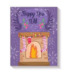 happy new year chimney stocking mitten lights vector image