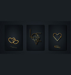 happy valentines day gold set black greeting cards vector image