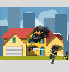 home on fire with fireman vector image