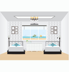 Hotel interior room with double bed and furniture vector