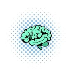 Human brain icon comics style vector