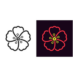 icon of hawaiian flower in outline style vector image