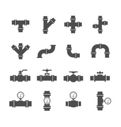 Icon set pipe parts vector