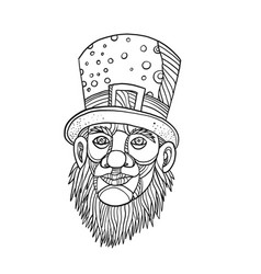 irish leprechaun mono line vector image