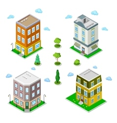 Isometric City Buildings Set Modern Houses vector image vector image