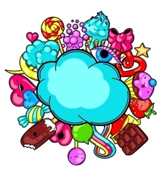 Kawaii card with sweets and candies crazy sweet vector