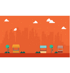 landscape of street stall with urban town vector image
