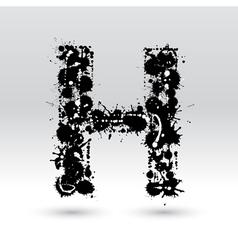 Letter h formed by inkblots vector
