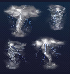 Lightning in tornado twister realistic vector