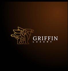Logo griffin line art style vector