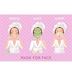 Mask for Face Girl Applying a Face Scrub vector