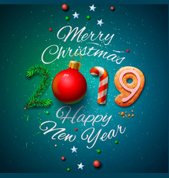 merry christmas and happy new year 2019 greeting vector image