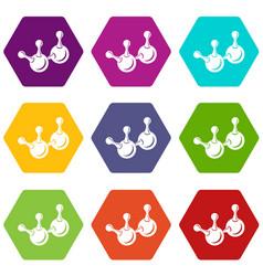 molecule element icons set 9 vector image