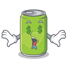 Money eye soft drink character cartoon vector