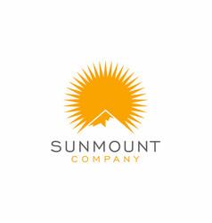 mountain sun logo design inspiration vector image