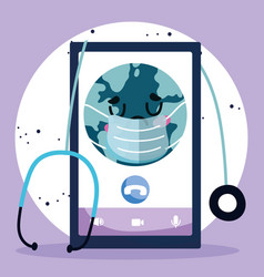 Online doctor smartphone world with mask vector