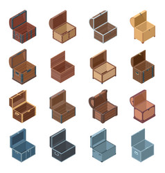 Open chest isolated isometric icon vector