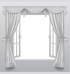 Open white double window with classic blinds and vector