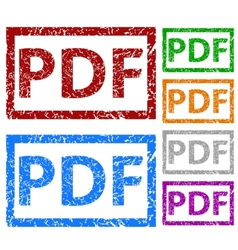 PDF grunge rubber stamp set vector image