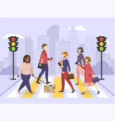 Pedestrians people walking on city street vector