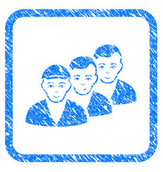 people queue framed stamp vector image