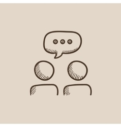 People with speech square above their heads sketch vector