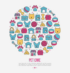 pet care concept in circle with thin line icons vector image