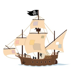 pirate ship on white vector image