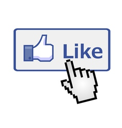 Pixelated hand clicking on like button vector