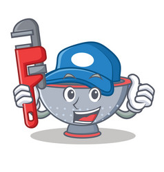 Plumber colander utensil character cartoon vector