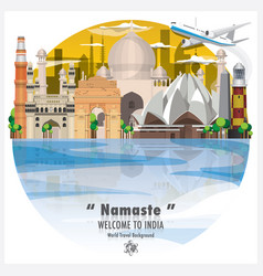 Republic of india landmark global travel and vector
