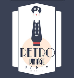 retro vintage party logo design element with vector image