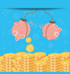 saving piggy hanging and coins isolated icon vector image