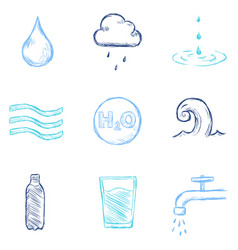 Set color sketch water icons vector