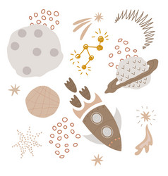 set of abstract space stickers vector image