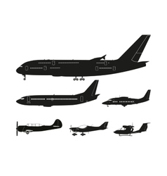 Set of black silhouettes of aircraft vector image