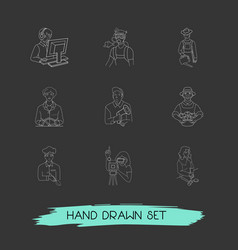 set of person icons line style symbols with vector image