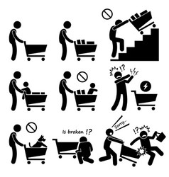 Shopping cart trolley do and not human pictograph vector