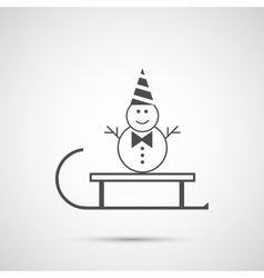sled and snowman icon vector image